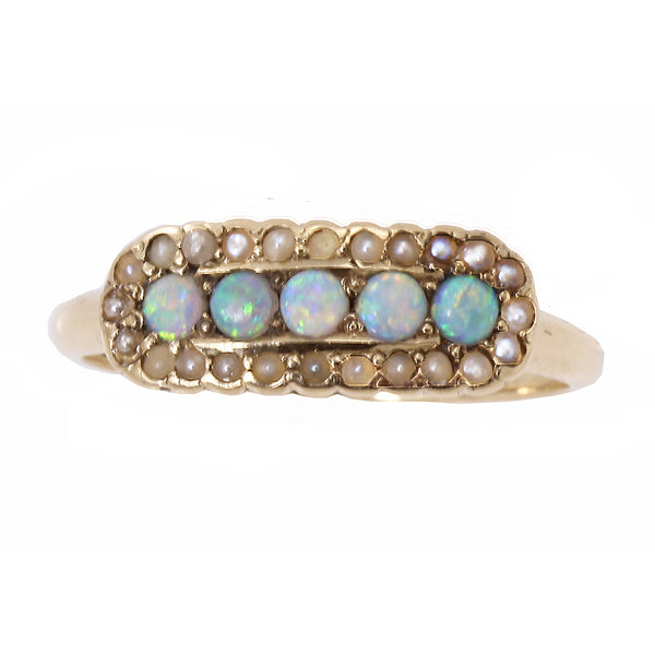 Victorian 14k Yellow Gold Opal and Pearl Antique Ring Front