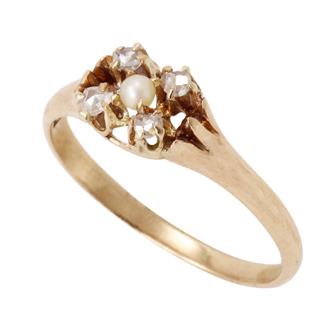 Victorian 14k Yellow Gold Diamond and Pearl Ring