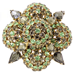 Warner Green and Black Diamond Rhinestone Pin/Brooch Front