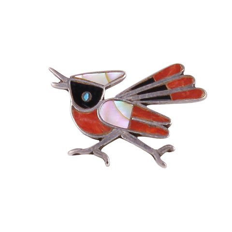Zuni Stone Inlay Sterling Silver Road Runner Bird Pin
