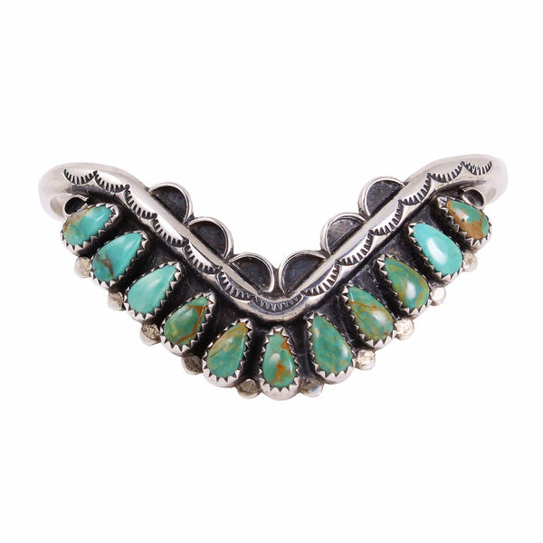 Zuni Turquoise Sterling Silver Bracelet Front