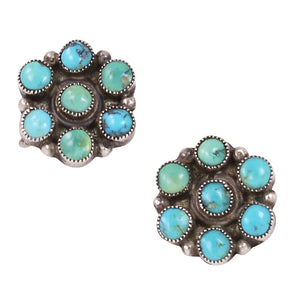 Zuni Turqouise Sterling Silver Earrings Front