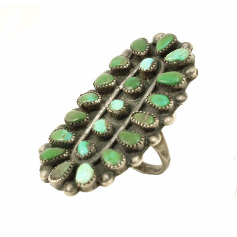 Zuni Petit Point Turquoise Large Sterling Silver Ring Front