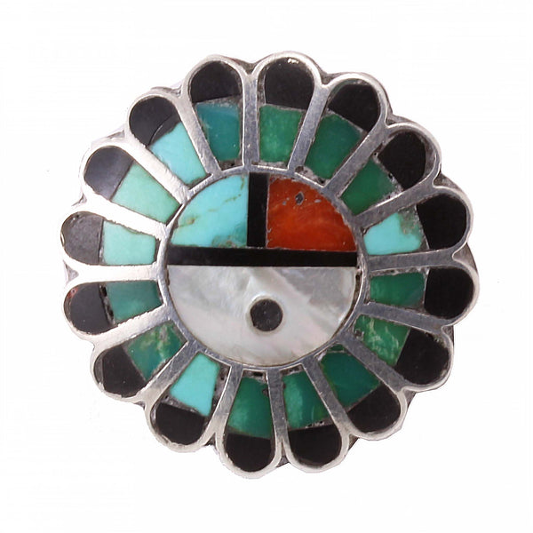 Zuni Stone Inlay Sun Face Sterling Silver Ring Front