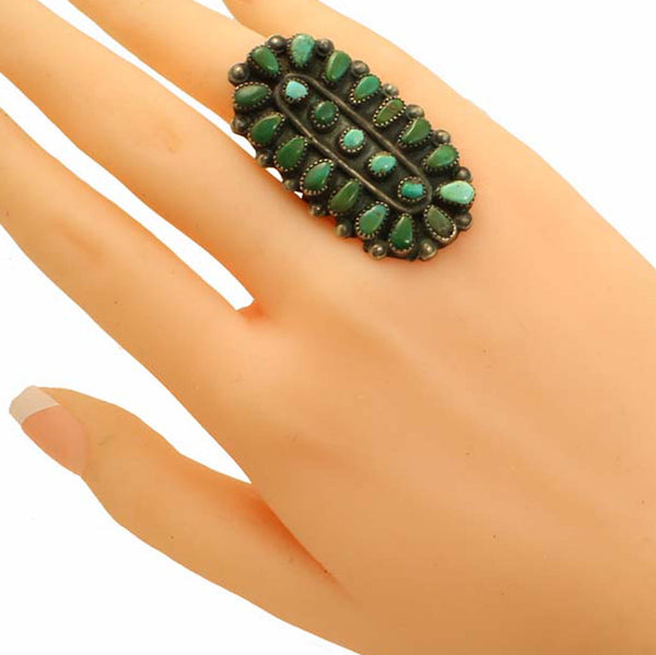 Zuni Petit Point Turquoise Large Sterling Silver Ring Worn