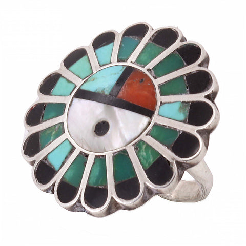 Zuni Stone Inlay Sun Face Sterling Silver Ring Side