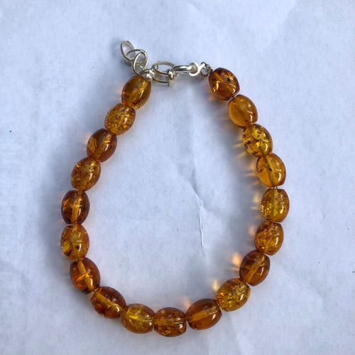 8X10 mm. Oval Cognac Baltic Amber Bracelet