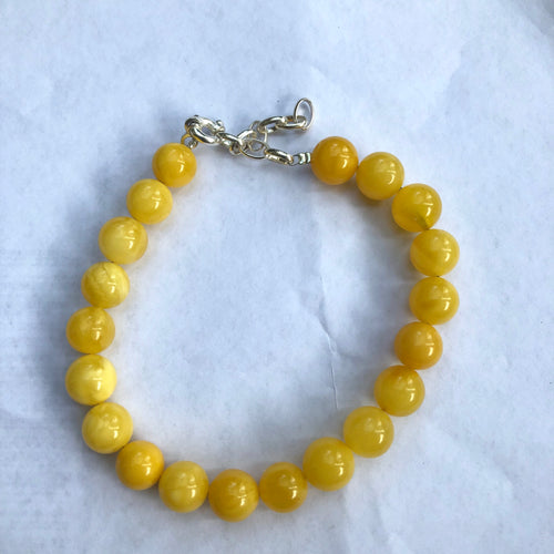 10mm Milky Baltic Amber Beads Bracelet