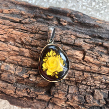 Flower Carved Amber In Sterling Silver