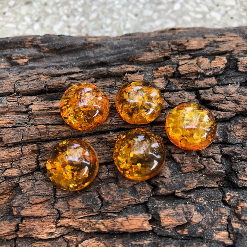 14 mm. Round Cab Natural Baltic Amber