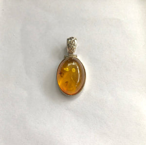 Sterling Silver Pendant With Amber