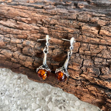 Sterling Silver Amber Ball Earring