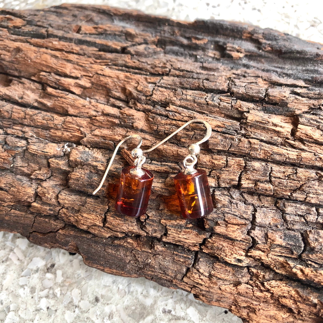 Amber Cylinder Earring