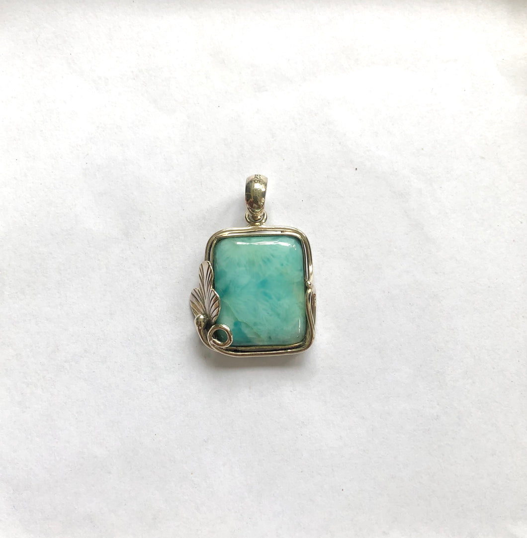 Larimar Stone Pendant With Sterling Silver