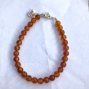 6 mm Cognac Amber Beads Bracelet