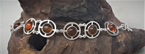 Silver Bracelet With Natural Baltic Amber
