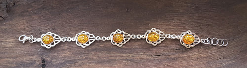 Silver 925 Bracelet With Baltic Amber