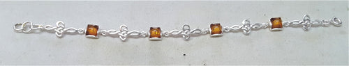 Silver Bracelet With Square Amber