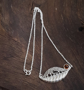 Silver Necklace Leaf Shape