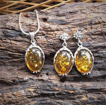 Silver Set With Amber