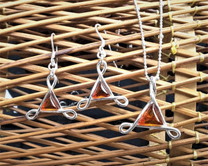 Earrings , Pendant And Silver Chain With Amber
