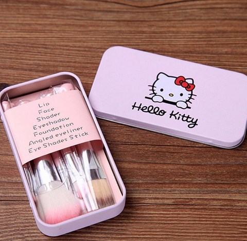 hello kitty makeup brushes pink set