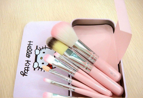 hello kitty makeup brushes set pink