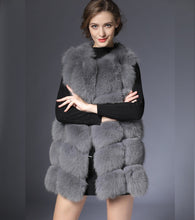 Load image into Gallery viewer, Real Fur Vest Gray Fur Vest Women Winter Vest 90CM Waistcoat Real Fox Fur Gilet Female Real Fur Vest Long Waistcoat DHL