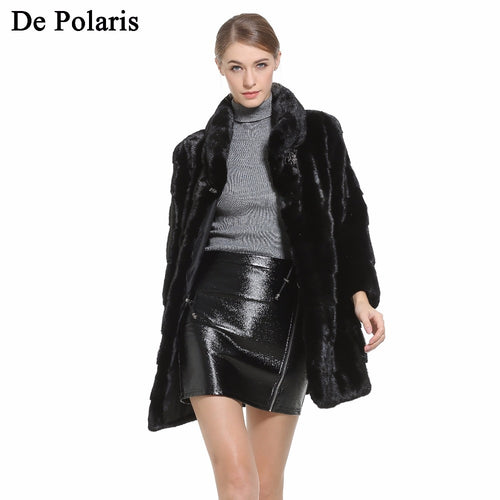Mink Fur Coat Female Black Natural Fur Coats Women Hot Genuine Fur Coat 80CM Parka Honorable Waistcoat Women Coats 2018 New