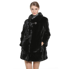 Load image into Gallery viewer, Mink Fur Coat Female Black Natural Fur Coats Women Hot Genuine Fur Coat 80CM Parka Honorable Waistcoat Women Coats 2018 New
