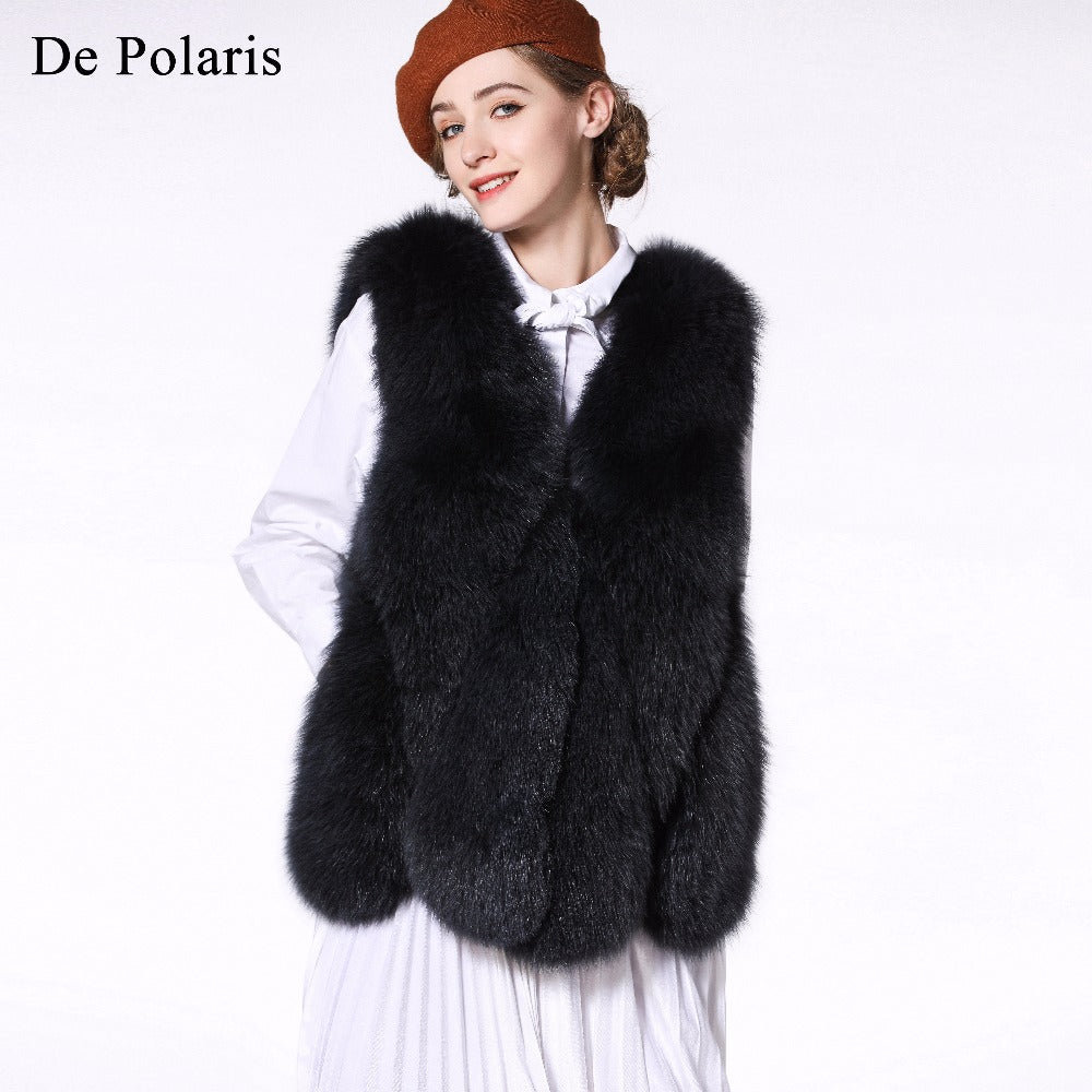 Real Fur Vest and Coats Fox Fur Coats Women Natural Fox Fur Vest 70CM Womens Black Real Fox Fur Vest Long Coat ShipBy DHL 5 days