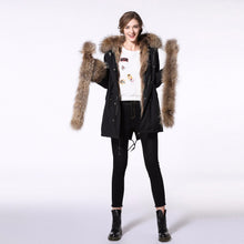 Load image into Gallery viewer, Parka Woman 2018 New Fur Coat Parkas 90CM Winter Coat Women Parka Big Real Raccoon Fur Collar Natural Fox Fur Liner Long Parka