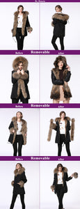 Parka Woman 2018 New Fur Coat Parkas 90CM Winter Coat Women Parka Big Real Raccoon Fur Collar Natural Fox Fur Liner Long Parka