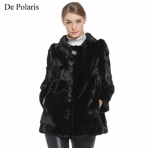 Mink Fur Coat Female Black Natural Fur Coats Hot Real Fur Coat 75CM Parka Honorable Women Coat Genuine Mink Warm