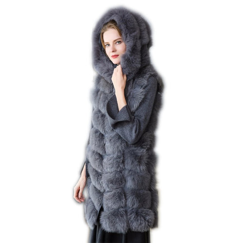 Real Fur Vest with hat Fox Fur Women Natural Fox Fur Vest 90CM Women hat Gray Real Fox Fur Vest hats Long Ship By DHL 5 days