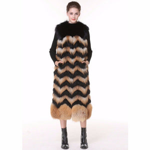 Real Fox Fur Vest 2017 New Fox Fur Vest Stripe Fur Vest Women's Winter Wave Waistcoat Gilet Long Female Fur Vest 115CM Waistcoat