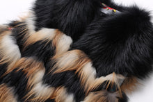 Load image into Gallery viewer, Real Fox Fur Vest 2017 New Fox Fur Vest Stripe Fur Vest Women's Winter Wave Waistcoat Gilet Long Female Fur Vest 115CM Waistcoat
