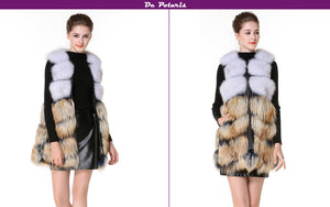 Real Fur Vest Blue&Red Fur Vest With Side Zipper Genuine Leather 75cm New Design Fox Fur Gilet for Ladies in Winter