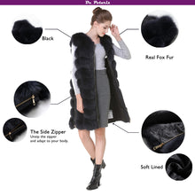 Load image into Gallery viewer, Real Fox Fur Vest Fur Vest With Side Zipper Black Winter Coat Waistcoat Fox Fur Female Genuine Fox Fur Jackets Ship by DHL