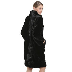 Mink Fur Coat Female Black Natural Fur Coats Women 100CM Hot Real Fur Coat Parka For Winter Warm Genuine Women Waistcoat