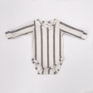 Long Sleeve Onesie | Grey Stripes