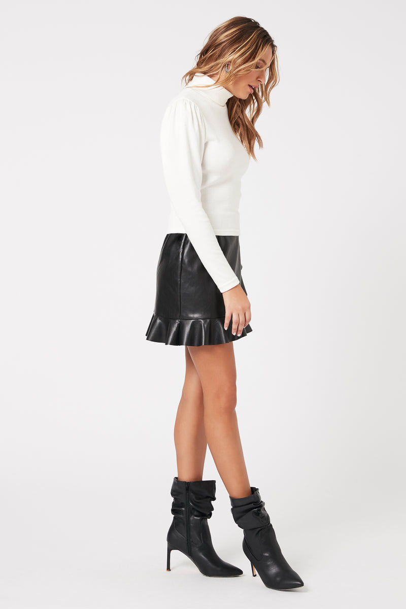 Leather Ruffle Mini Skirt