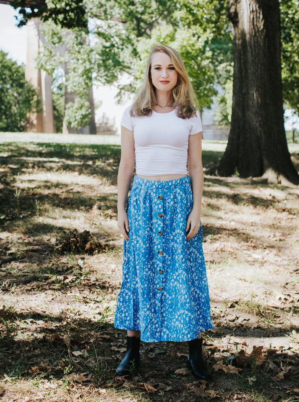 Blue Fields Midi Skirt