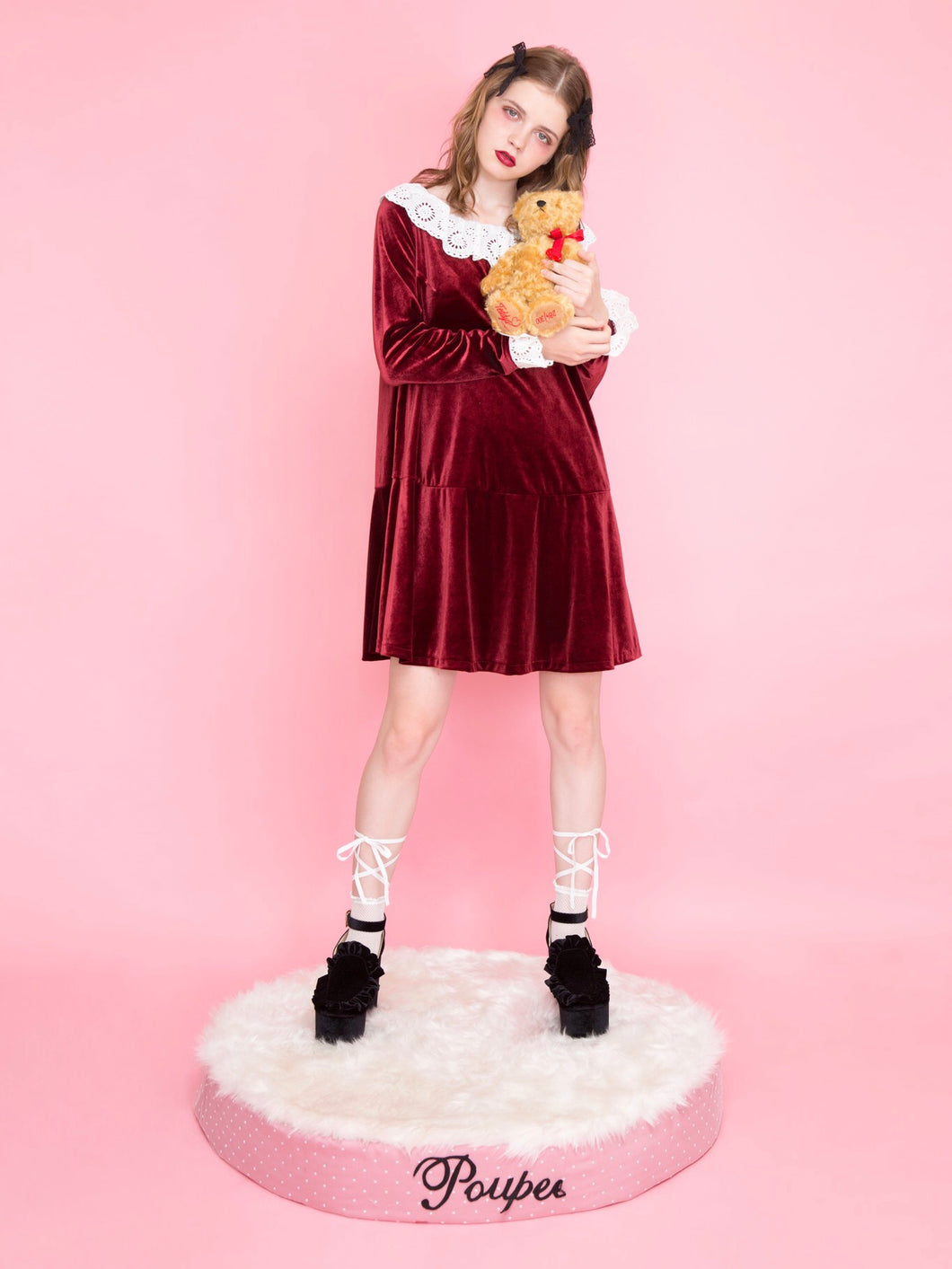 Lace collar velour one-piece (wine) - Poupee Boutique