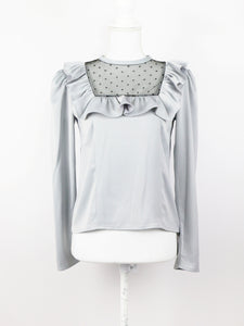 York frill satin blouse (sax) - Poupee Boutique
