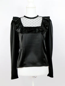 York frill satin blouse (black) - Poupee Boutique