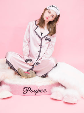 Satin lace shirt (pink) - Poupee Boutique