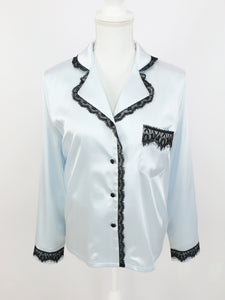 Satin lace shirt (sax) - Poupee Boutique
