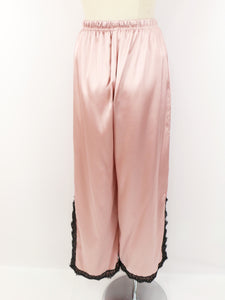 Satin lace wide pants (pink) - Poupee Boutique