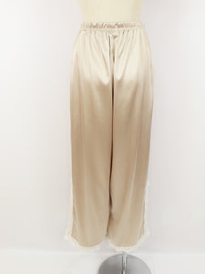 Satin lace wide pants (pink gold white lace) - Poupee Boutique